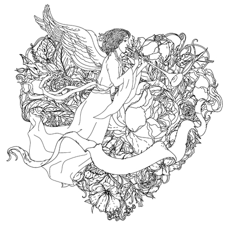 uncolored: uncolored angel, ribbon for text on heart shape. Adult coloring book famous zenart style. Hand-drawn, retro, doodle, vector, uncoloured. Black and white. The best for design, textiles,  coloring book