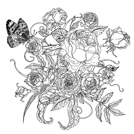 fleurs incolores et buterflay pour adulte livre de coloriage dans le célèbre style zenart. Hand-drawn, rétro, griffonnage, vecteur, incolores. Noir et blanc. Le meilleur pour la conception, les textiles, les cartes, livre de coloriage Vecteurs