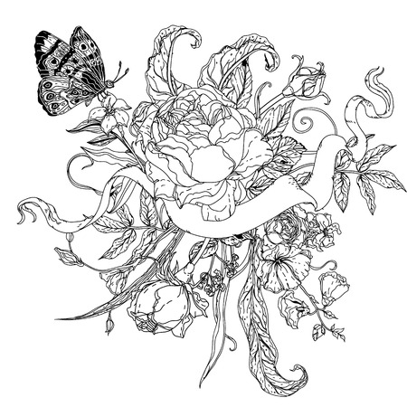 uncolored: uncolored flowers and buterflay for Adult coloring book in famous zenart style. Hand-drawn, retro, doodle, vector, uncoloured. Black and white. The best for design, textiles, cards, coloring book