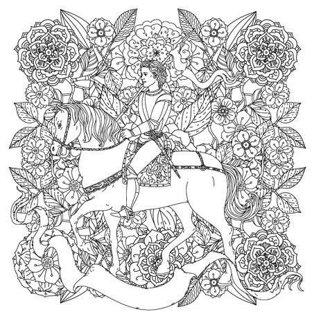 uncolored: uncolored prince, flowers and ribbon for text. Adult coloring book famous zenart style. Hand-drawn, retro, doodle, vector, uncoloured. The best for design, textiles, cards, coloring book