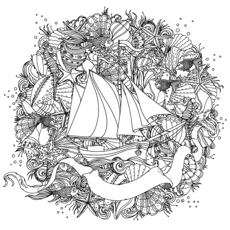 best book: Sailboat on the background of sea and ribbon for text. Adult coloring book famous zenart style. Hand-drawn, retro, doodle, vector, uncoloured. The best for design, textiles, cards, coloring book