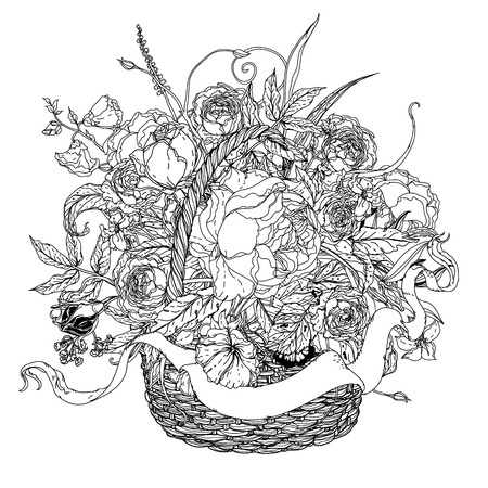 uncolored: uncolored flowers in a basket and ribbon for text. Adult coloring book famous zenart style. Hand-drawn, retro, doodle, vector, uncoloured. Black and white. The best for design,  cards, coloring book