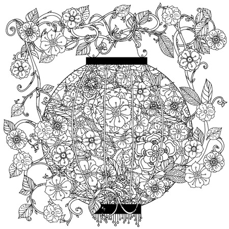 Oriental lantern decorated by floral patterns for adult  coloring book.  Black and white. Uncolored Vector illustration. The best for your design, textiles, posters, adult coloring book
