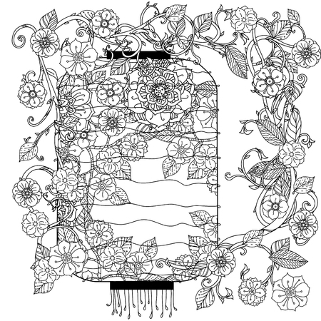 uncolored: Oriental lantern decorated by floral patterns for adult  coloring book.  Black and white. Uncolored Vector illustration. The best for your design, textiles, posters, adult coloring book
