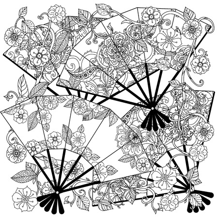 uncolored: Uncoloured Oriental fans decorated with floral patterns for adult  coloring book.  Black and white. Uncolored Vector illustration. The best for your design, textiles, posters, adult coloring book Illustration