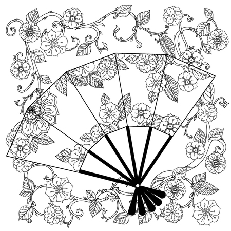 best book: Uncoloured Oriental fan decorated with floral patterns for adult  coloring book.  Black and white. Uncolored Vector illustration. The best for your design, textiles, posters, adult coloring book