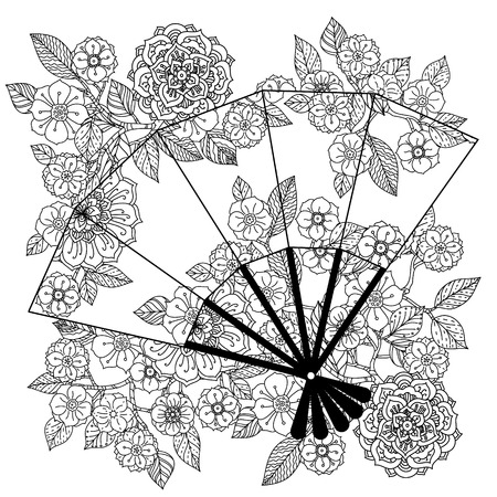 Uncoloured Oriental fan decorated with floral patterns for adult  coloring book.  Black and white. Uncolored Vector illustration. The best for your design, textiles, posters, adult coloring book