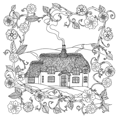 victorian house: black and white flowers and victorian house. for adult coloring book, zenart style. Hand-drawn, retro, doodle, vector, uncoloured. The best for textiles, cards, coloring book in vector. Illustration