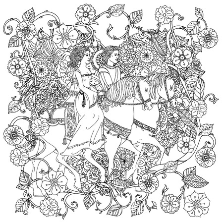 uncolored: uncolored man and women as fairy tale princess and prince Adult coloring book famous zenart style. Hand-drawn, retro, doodle, vector, uncoloured. The best for design, textiles, cards, coloring book