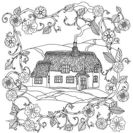 victorian house: black and white flowers and victorian house
