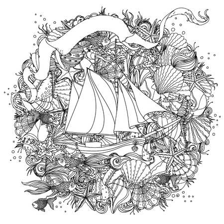 Sailboat on the background of sea and ribbon for text Ilustrace