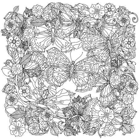 uncolored: uncolored flowers and buterflay for Adult coloring book