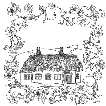 victorian house: black and white flowers and victorian house. for adult coloring book, zenart style. retro, doodle,  uncoloured. The best for textiles, cards, coloring book