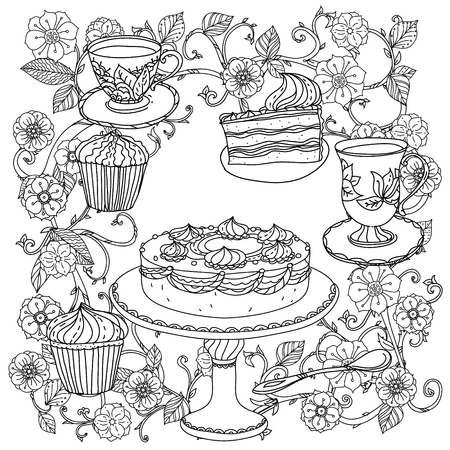 uncoloured Orient floral black and white ornament in adult coloring book style. With elements of time for tea, cups, teapot, cake and cupcakes. Could be use  for adult coloring book  in zenart style.
