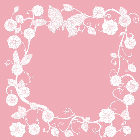 buterfly: Pastel Floral  frameand a buterfly Pink and white. illustration. The best for your design, textiles, posters or Valentines Day and wedding card