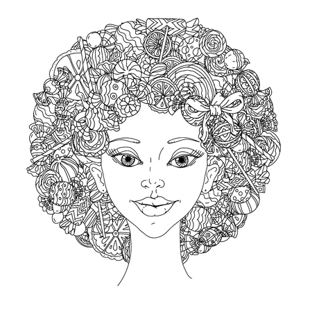 hair ornament: fashion woman with abstract hair of candies, sweets and lollypos uncoloured  black and white ornament in adult coloring book style. Could be use  for adult coloring book  in zenart style.