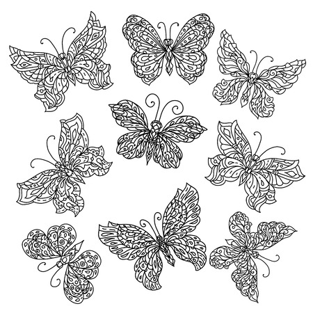 uncolored: Set of Uncolored ornat butterfly for adult coloring book in famous zenart style. retro, doodle,  uncoloured. The best for design, textiles, posters, coloring book Illustration