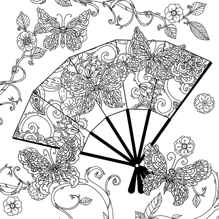 china people: Oriental fan decorated by  Uncolored  butterfly for adult coloring book in famous zenart style. retro, doodle,  uncoloured. The best for design, textiles, posters, coloring book Illustration