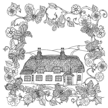 victorian house: Black and white flowers frame, butterfly and victorian house adult coloring book, zenart style.  doodle, uncoloured. The best for textiles, cards, coloring book. Eco theme. Illustration
