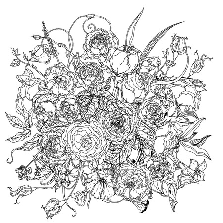 art pen: Artistick uncolored luxury flowers for Adult coloring book in famous zenart style. retro, doodle,  uncoloured. Black and white. The best for design, textiles, cards, coloring book