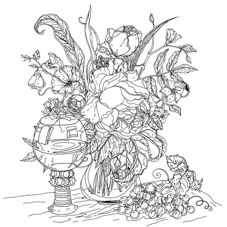 uncolored: Artistick uncolored still life, vintage glass, bunch of grapes, luxurious bouquet for Adult coloring book in famous zenart style. doodle, for design, textiles, cards, coloring book Illustration