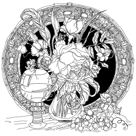 uncolored: Artistic uncolored still life, vintage glass, bunch of grapes, luxurious bouquet for Adult coloring book in famous zenart style. doodle, for design, textiles, cards, coloring book