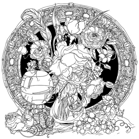 uncolored: Artistic uncolored luxury roses, vintage glass, bunch of grapes, luxurious bouquet for Adult coloring book in famous zenart style. doodle, for design, textiles, cards, coloring book