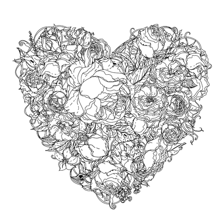 uncolored: Artistic uncolored  colouring book syle luxury roses  bouquet in heart shape for Adult coloring book in famous zenart style.  doodle, for design, wedding cards, coloring book