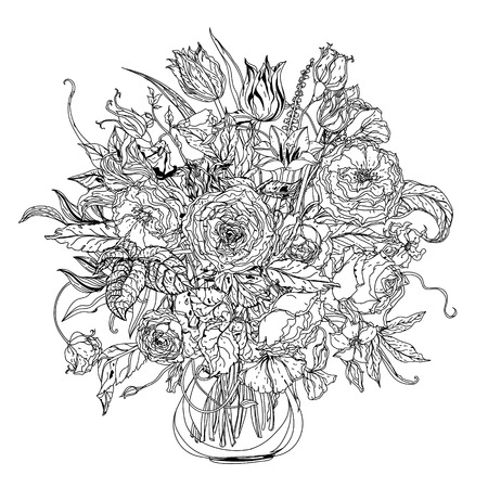 uncolored: Artistic uncolored  for colouring book syle luxury roses  bouquet in zenart style for Adult coloring book in famous zenart style.  doodle, for design, wedding cards, coloring book Illustration