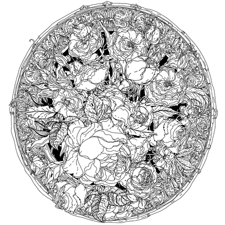 uncolored: Artistic uncolored  for colouring book style luxury roses  bouquet in zenart style for Adult coloring book in famous zenart style.  doodle, for design, wedding cards, coloring book