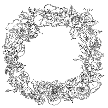 uncolored: Artistic uncolored  for colouring book wreath ring of roses  bouquet in zenart style for Adult coloring book in famous zenart style. Hand-drawn, doodle, vector for design, wedding cards, coloring book Illustration