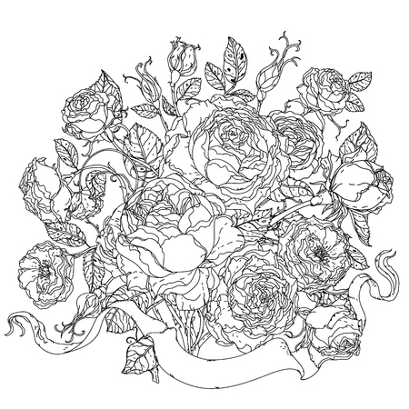 Incoloro Rosas De Lujo De Estilo De Libro Para Colorear En El Estilo ...