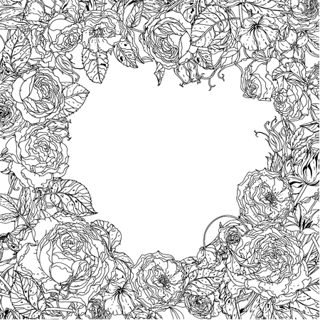 uncolored: Uncolored  frame with roses in zenart style, could be used for Adult colouring book. Hand-drawn, doodle, vector the best for your design, wedding cards, zen adult coloring book. Black and white.