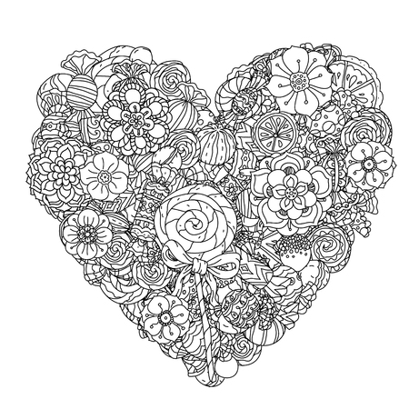 Uncoloured sweets and butterfly for adult coloring book in famous zenart art-therapy antistress style. Hand-drawn, retro, doodle, vector, mandala style, uncoloured for coloring book or poster design. Stock Illustratie