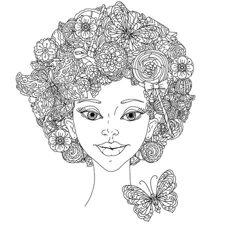 femme Incolore et papillon pour adultes livre de coloriage dans le célèbre style de zenart antistress art-thérapie. Hand-drawn, rétro, griffonnage, vecteur, style mandala, incolores pour livre de coloriage ou de la conception de l'affiche.