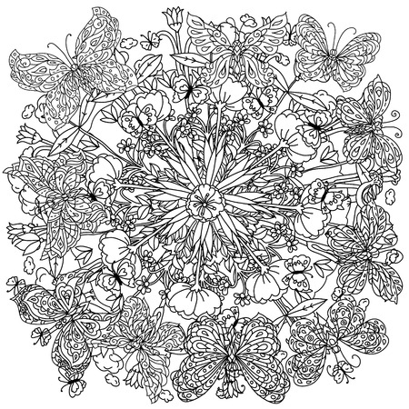 ink illustration: Uncoloured flowers and butterfly for adult coloring book in famous zenart art-therapy antistress style. Hand-drawn, retro, doodle, vector, mandala style, uncoloured for coloring book or poster design.