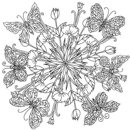 art therapy: mandala shape flowers and butterfly for adult coloring book in zen art therapy style for anti stress drawing. Hand-drawn, retro, doodle, vector, mandala style, for coloring book or poster design.