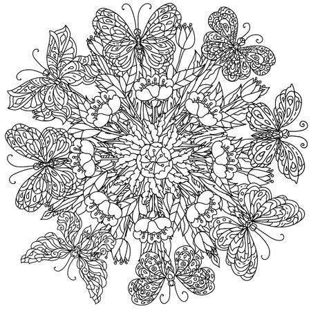 mandala vorm bloemen en vlinder voor volwassen kleurboek in zen beeldende therapie stijl voor anti-stress tekenen. Hand-drawn, retro, krabbel, vector, mandala stijl, voor het kleuren van boek of poster design.