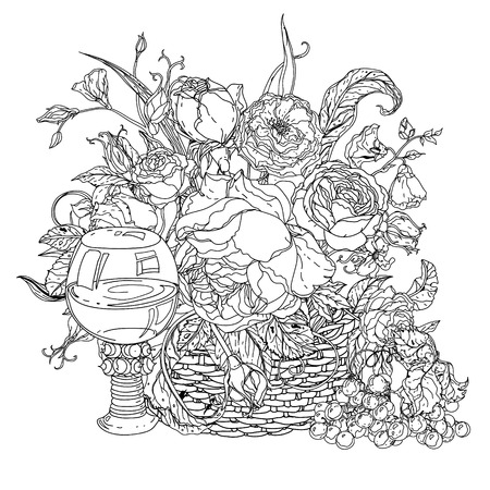 life style: still life with vintage glass, grapes, luxurious bouquet for adult coloring book in zen art therapy style for anti stress drawing. Hand-drawn, retro, doodle, vector, mandala style, for coloring book Illustration