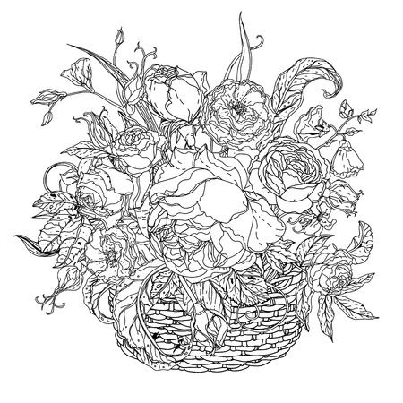 art therapy: still life with vintage glass, basket, luxurious bouquet for adult coloring book in zen art therapy style for anti stress drawing. Hand-drawn, retro, doodle, vector, mandala style, for coloring book