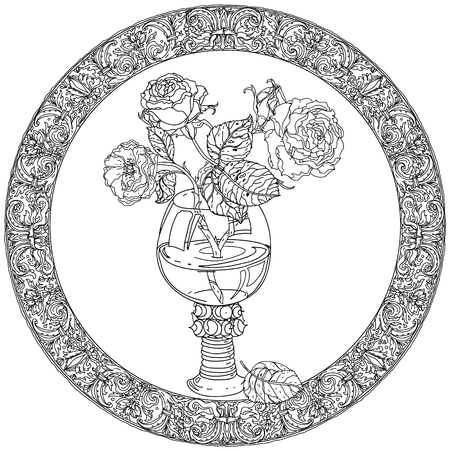art therapy: frame with roses in vintage glass, old masters style bouquet for adult coloring book in zen art therapy style for anti stress drawing. Hand-drawn, vector, dutch masters style, for coloring book