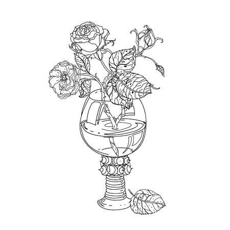 encore roses de la vie en verre vintage, vieux bouquet de style maîtres pour livre de coloriage pour adultes dans le zen style art-thérapie pour les anti-stress dessin. Hand-drawn, vecteur, style maîtres hollandais, pour le livre de coloriage