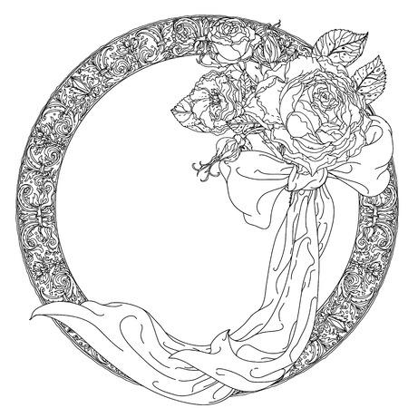 cadre avec des roses en verre vintage, vieux bouquet de style maîtres pour livre de coloriage pour adultes dans le zen style art-thérapie pour les anti-stress dessin. Hand-drawn, vecteur, style maîtres hollandais, pour le livre de coloriage Vecteurs