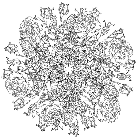 art therapy: flowers in shape of mandala in old masters style bouquet for adult coloring book or for zen art therapy anti stress drawing. Hand-drawn, vector, detailed mandala, for coloring book, poster design