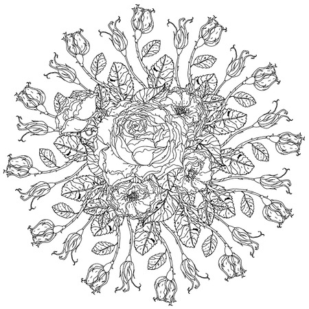 uncolored: luxury flowers bouquet in shape of mandala for adult coloring book or for zen art therapy anti stress drawing. Hand-drawn, vector, uncolored detailed mandala, for coloring book, t-shirt poster design
