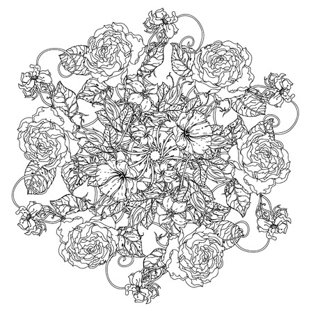 art therapy: luxury flowers bouquet in shape of mandala for adult coloring book or for zen art therapy anti stress drawing. Hand-drawn, vector, uncolored detailed mandala, for coloring book, t-shirt poster design