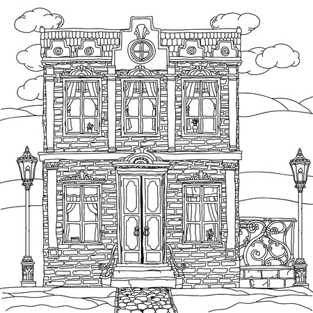 art therapy: Black and white illustration of a house with details for adult coloring book or for zen art therapy anti stress drawing. Hand-drawn, vector,very detailed, for coloring book, poster design, uncolored Illustration
