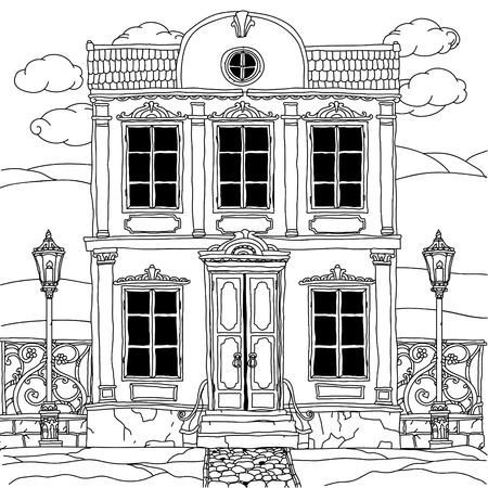 uncolored: house drawing with details for adult coloring book or for zen art therapy anti stress drawing. Hand-drawn, vector,very detailed, for coloring book, poster design, uncolored