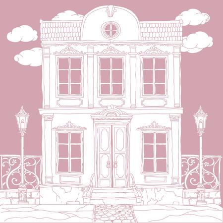 Casa Blanca Dibujado A Mano, Retro, Vector. La Mejor Para El Diseño ...