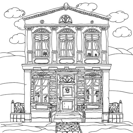 Hand Draw Village House Behind The Fence Coloring Book Page